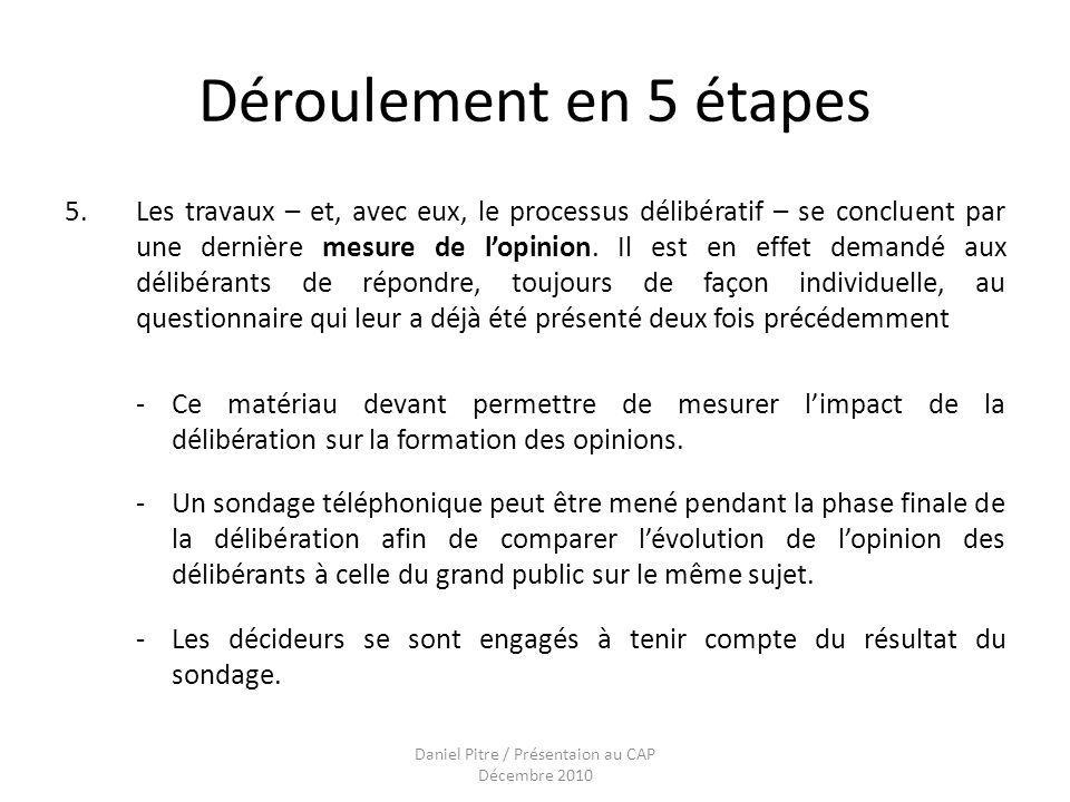 Daniel Pitre / Présentaion au CAP Décembre 2010 Déroulement en 5 étapes 5.Les travaux – et, avec eux, le processus délibératif – se concluent par une dernière mesure de lopinion.