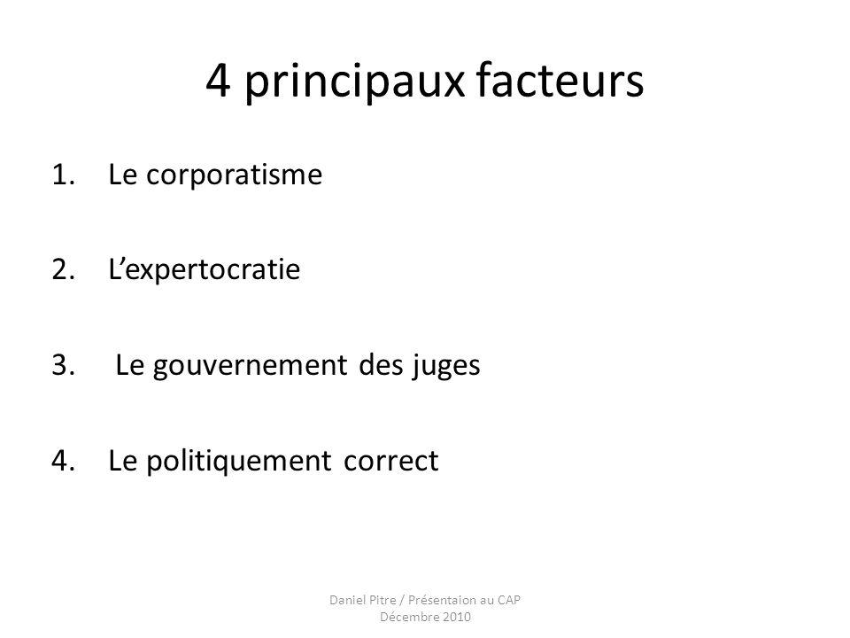 Daniel Pitre / Présentaion au CAP Décembre 2010 4 principaux facteurs 1.Le corporatisme 2.Lexpertocratie 3.