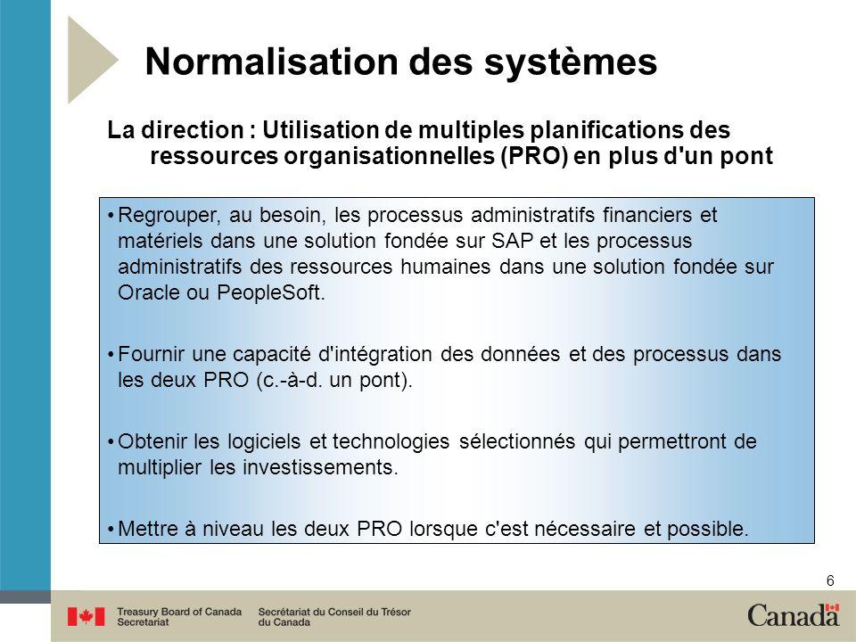 6 Normalisation des systèmes Regrouper, au besoin, les processus administratifs financiers et matériels dans une solution fondée sur SAP et les proces