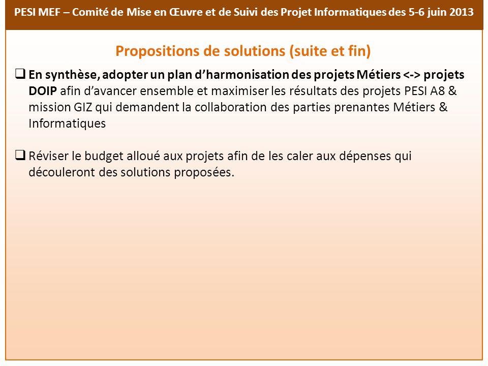 PESI MEF – Comité de Mise en Œuvre et de Suivi des Projet Informatiques des 5-6 juin 2013 En synthèse, adopter un plan dharmonisation des projets Méti