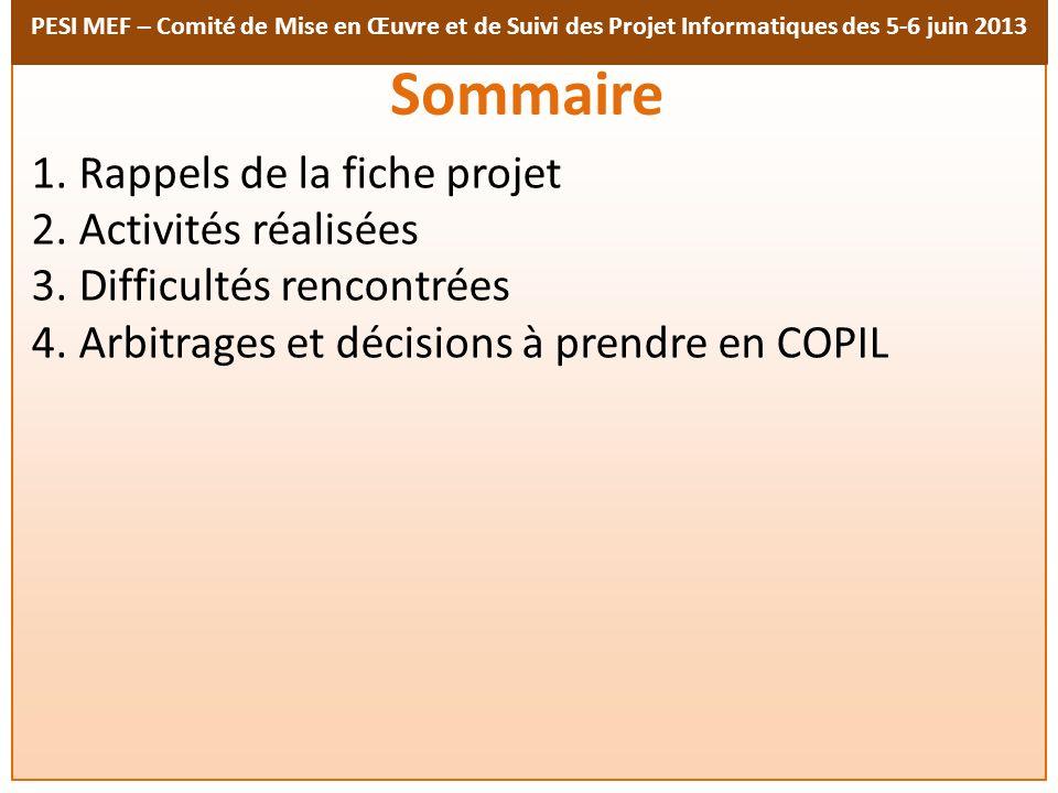 PESI MEF – Comité de Mise en Œuvre et de Suivi des Projet Informatiques des 5-6 juin 2013 Sommaire 1. Rappels de la fiche projet 2. Activités réalisée