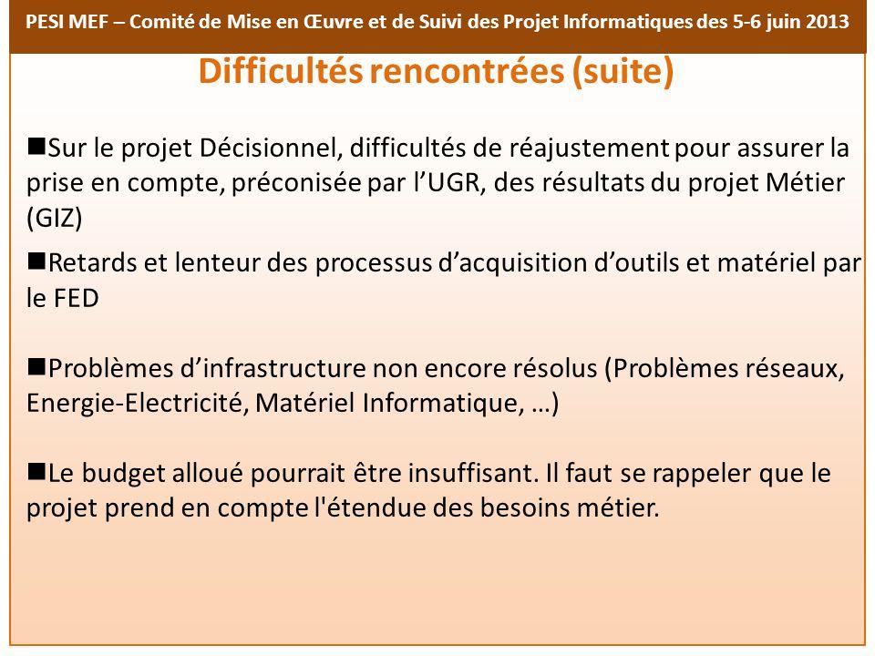 PESI MEF – Comité de Mise en Œuvre et de Suivi des Projet Informatiques des 5-6 juin 2013 Difficultés rencontrées (suite) Sur le projet Décisionnel, d