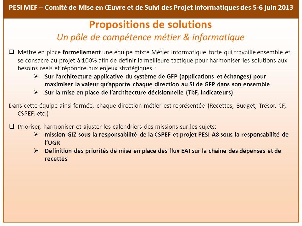 PESI MEF – Comité de Mise en Œuvre et de Suivi des Projet Informatiques des 5-6 juin 2013 Accélérer le processus dacquisition des outils par le FED et assurer la gouvernance et le financement du projet dans son ensemble Avoir lappui des autorités durant toute la durée du projet Adopter formellement : le programme dindustrialisation des échanges applicatifs (EAI) pour répondre aux enjeux stratégiques du MEF ; le projet Décisionnel et son programme afin de mettre à disposition les ressources nécessaires Travailler en étroite collaboration avec le Métier afin danticiper les avancés en matière de réformes des finances publiques Assurer et maintenir lalignement stratégique du projet Décisionnel sur les enjeux métiers (niveaux darchitecture synchronisés) Propositions de solutions (suite)