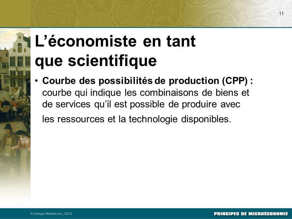 Courbe des possibilités de production (CPP) : courbe qui indique les combinaisons de biens et de services quil est possible de produire avec les resso