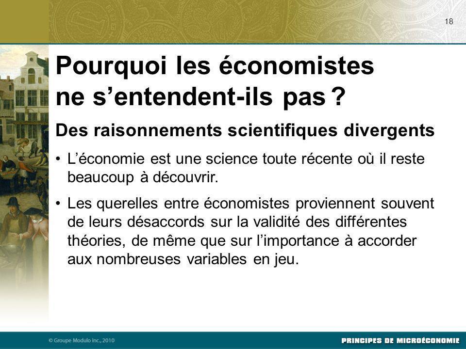 Des raisonnements scientifiques divergents Léconomie est une science toute récente où il reste beaucoup à découvrir. Les querelles entre économistes p