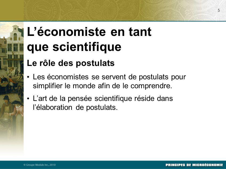 Le rôle des postulats Les économistes se servent de postulats pour simplifier le monde afin de le comprendre. Lart de la pensée scientifique réside da