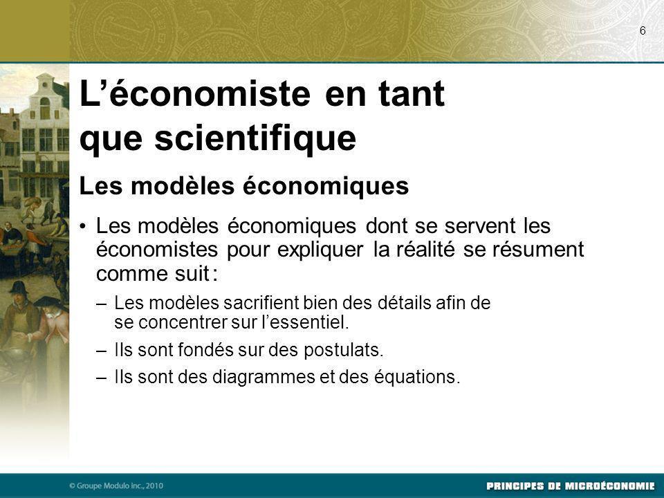 Les modèles économiques Les modèles économiques dont se servent les économistes pour expliquer la réalité se résument comme suit : –Les modèles sacrifient bien des détails afin de se concentrer sur lessentiel.