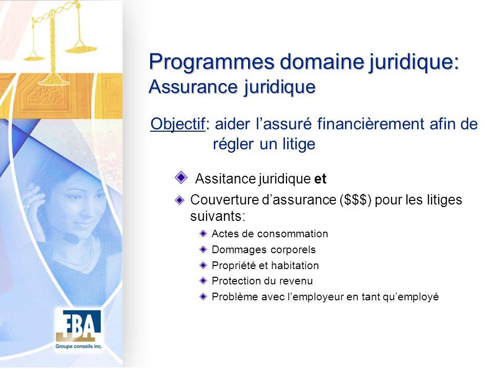 Programmes domaine juridique: Assurance juridique Objectif: aider lassuré financièrement afin de régler un litige Assitance juridique et Couverture da