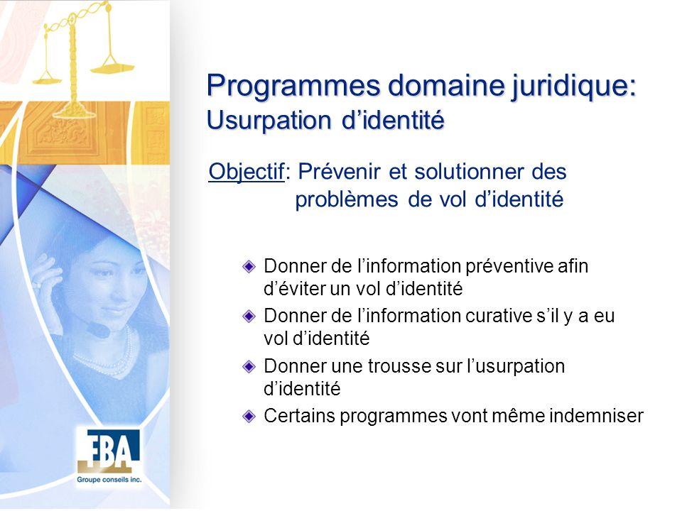 Programmes domaine juridique: Usurpation didentité Objectif: Prévenir et solutionner des problèmes de vol didentité Donner de linformation préventive