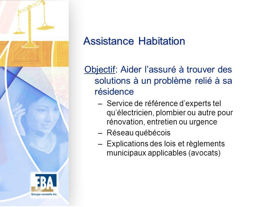 Assistance Habitation Objectif: Aider lassuré à trouver des solutions à un problème relié à sa résidence –Service de référence dexperts tel quélectric
