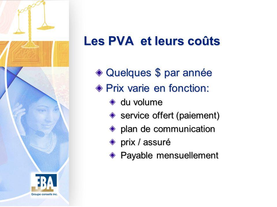 Les PVA et leurs coûts Quelques $ par année Prix varie en fonction: du volume du volume service offert (paiement) service offert (paiement) plan de co