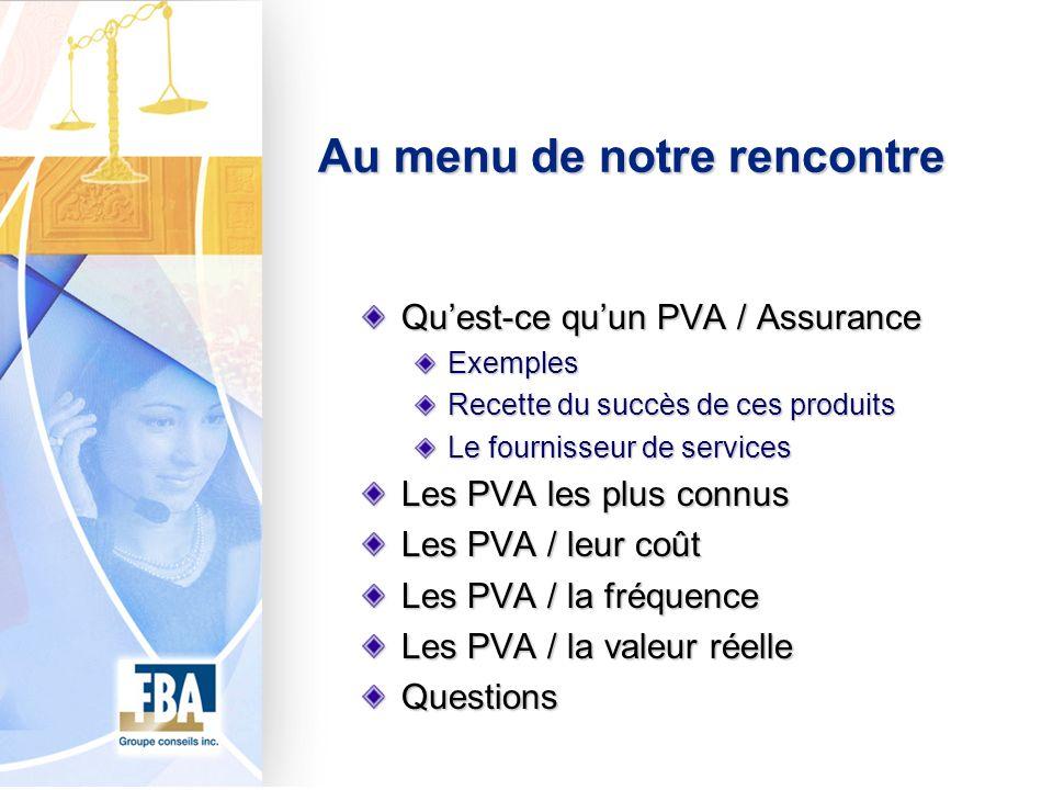 Au menu de notre rencontre Quest-ce quun PVA / Assurance Exemples Recette du succès de ces produits Le fournisseur de services Les PVA les plus connus Les PVA / leur coût Les PVA / la fréquence Les PVA / la valeur réelle Questions