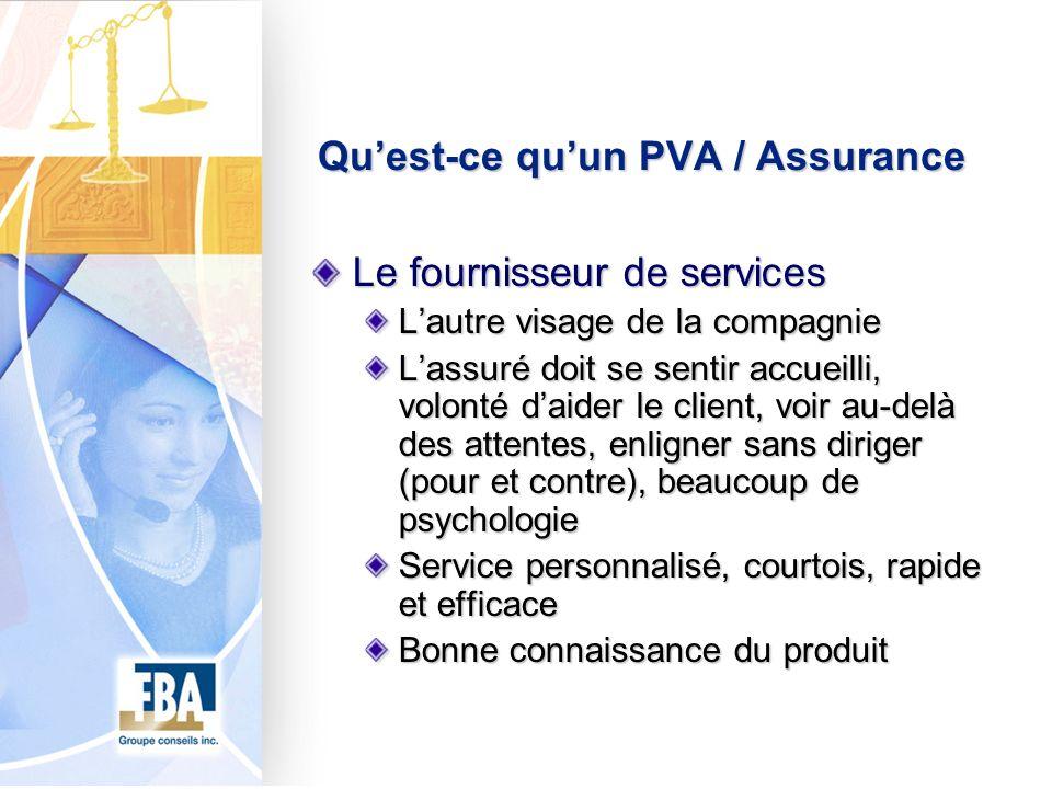 Quest-ce quun PVA / Assurance Le fournisseur de services Lautre visage de la compagnie Lassuré doit se sentir accueilli, volonté daider le client, voi