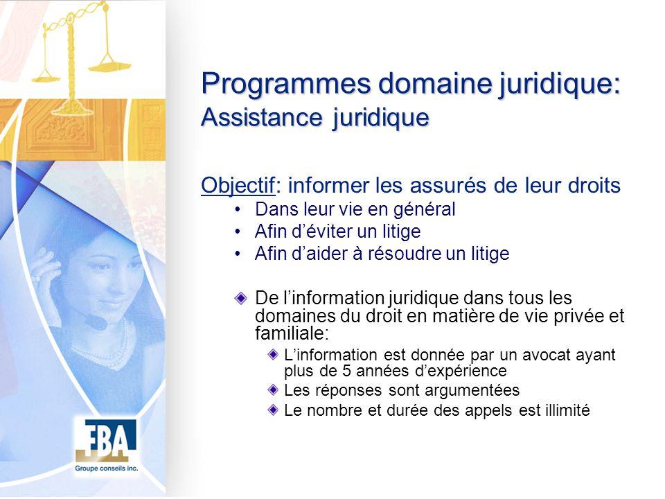 Programmes domaine juridique: Assistance juridique Objectif: informer les assurés de leur droits Dans leur vie en général Afin déviter un litige Afin