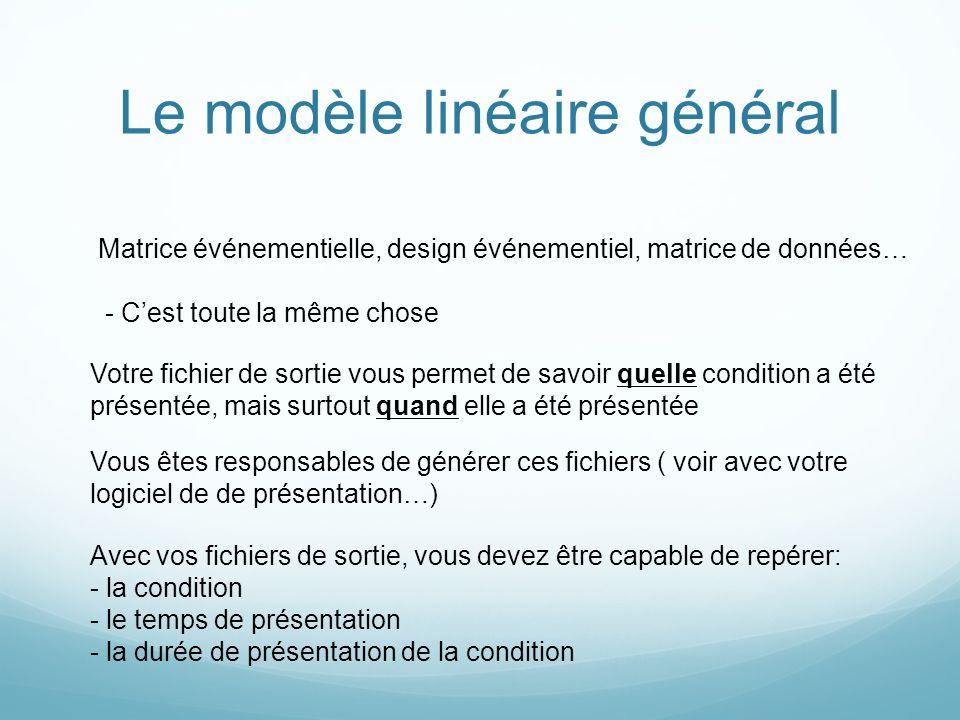 Le modèle linéaire général Matrice événementielle, design événementiel, matrice de données… - Cest toute la même chose Votre fichier de sortie vous pe