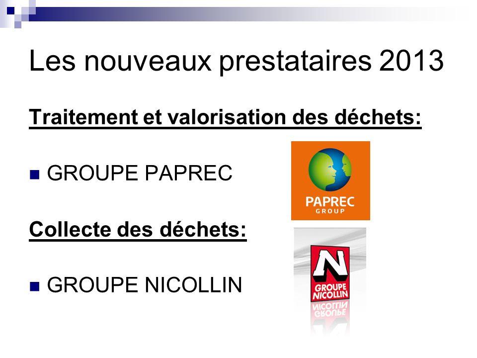 Les nouveaux prestataires 2013 Traitement et valorisation des déchets: GROUPE PAPREC Collecte des déchets: GROUPE NICOLLIN