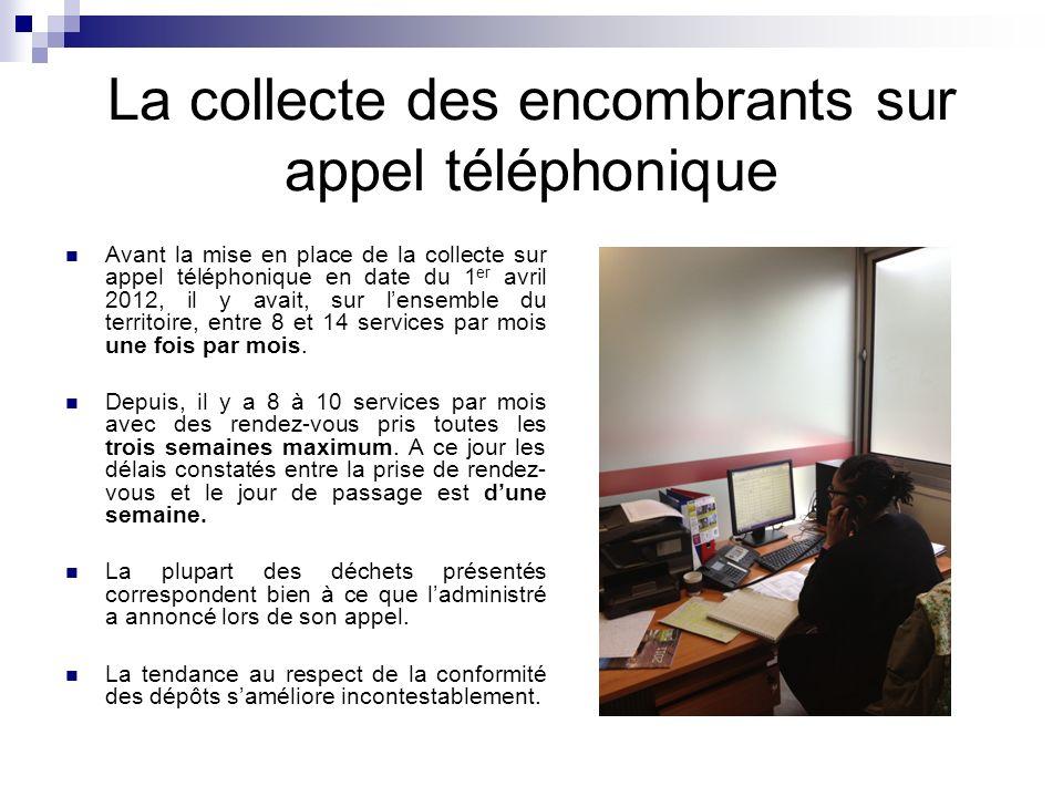 La collecte des encombrants sur appel téléphonique Avant la mise en place de la collecte sur appel téléphonique en date du 1 er avril 2012, il y avait