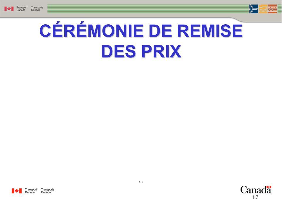 17 CÉRÉMONIE DE REMISE DES PRIX