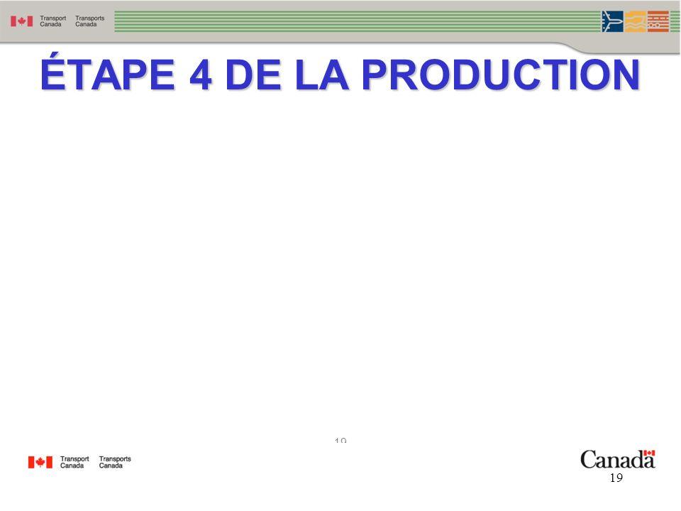 19 ÉTAPE 4 DE LA PRODUCTION