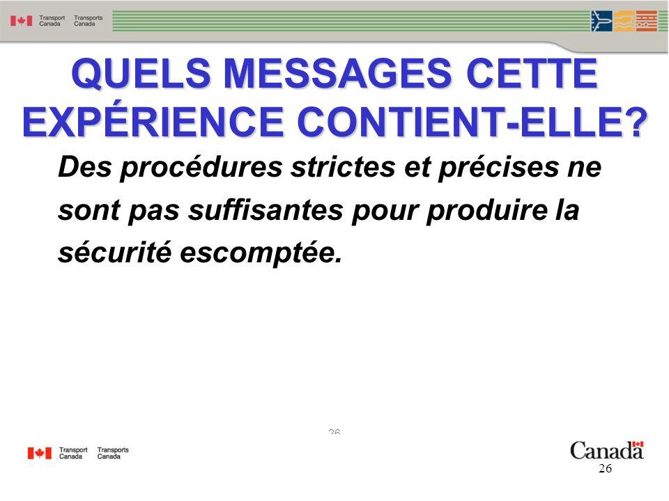 26 QUELS MESSAGES CETTE EXPÉRIENCE CONTIENT-ELLE? Des procédures strictes et précises ne sont pas suffisantes pour produire la sécurité escomptée.