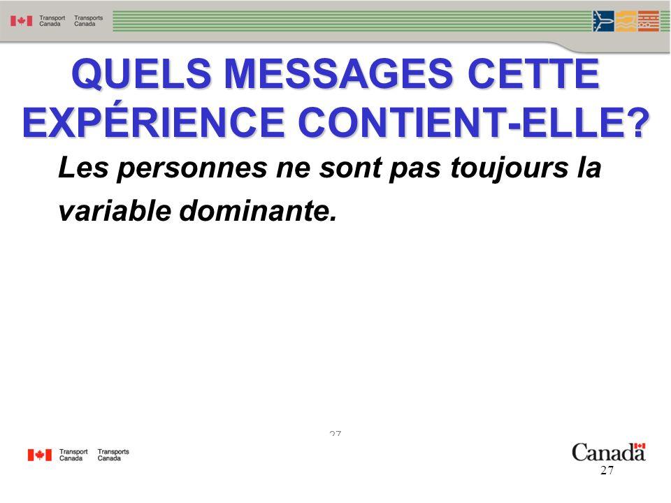 27 QUELS MESSAGES CETTE EXPÉRIENCE CONTIENT-ELLE? Les personnes ne sont pas toujours la variable dominante.