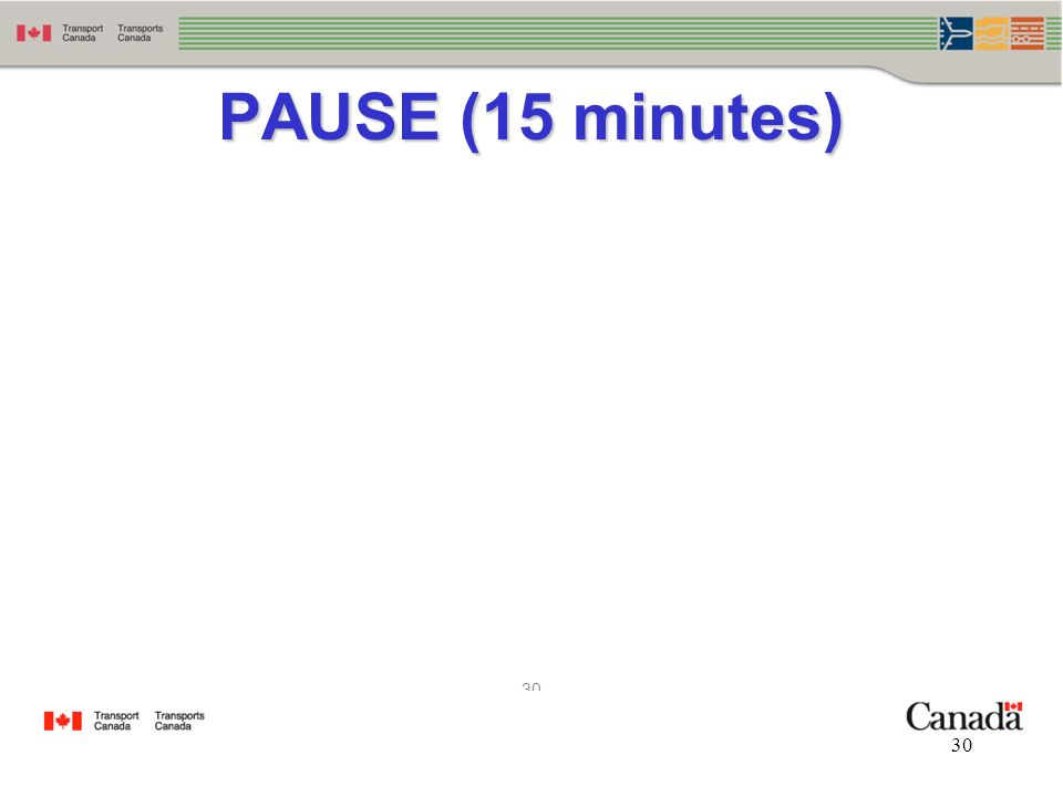 30 PAUSE (15 minutes)