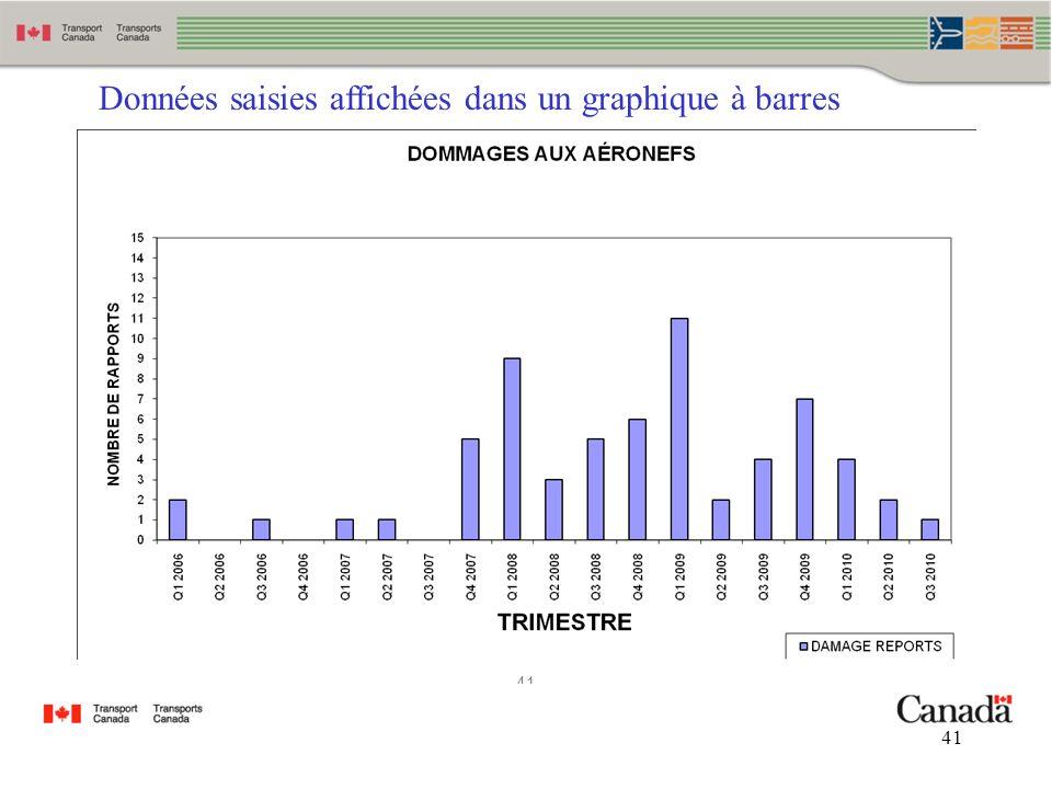41 Données saisies affichées dans un graphique à barres