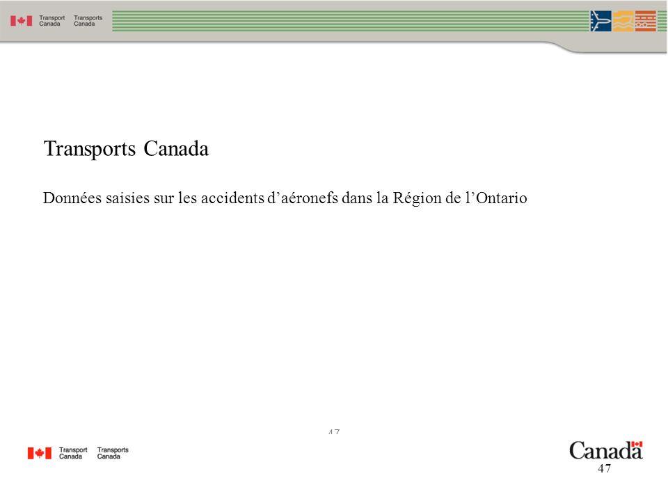 47 Transports Canada Données saisies sur les accidents daéronefs dans la Région de lOntario