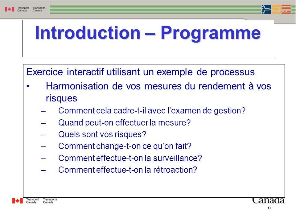 6 6 Introduction – Programme Exercice interactif utilisant un exemple de processus Harmonisation de vos mesures du rendement à vos risques –Comment ce