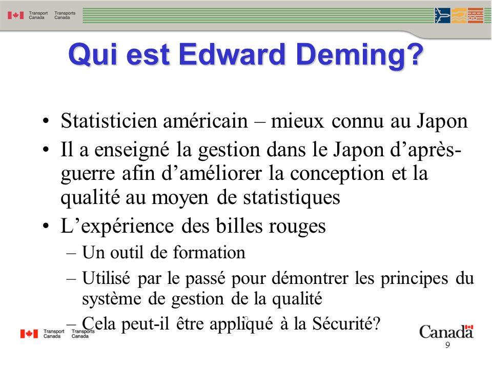 9 9 Qui est Edward Deming? Statisticien américain – mieux connu au Japon Il a enseigné la gestion dans le Japon daprès guerre afin daméliorer la conc