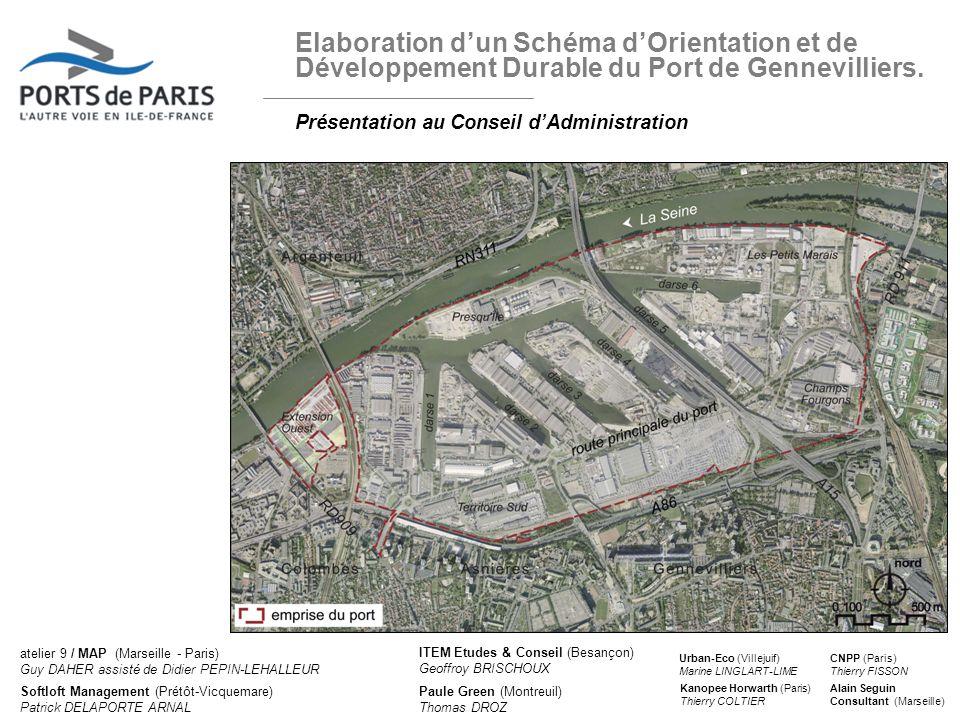 Elaboration dun Schéma dOrientation et de Développement Durable du Port de Gennevilliers. Présentation au Conseil dAdministration 11 avril 2012 1 atel