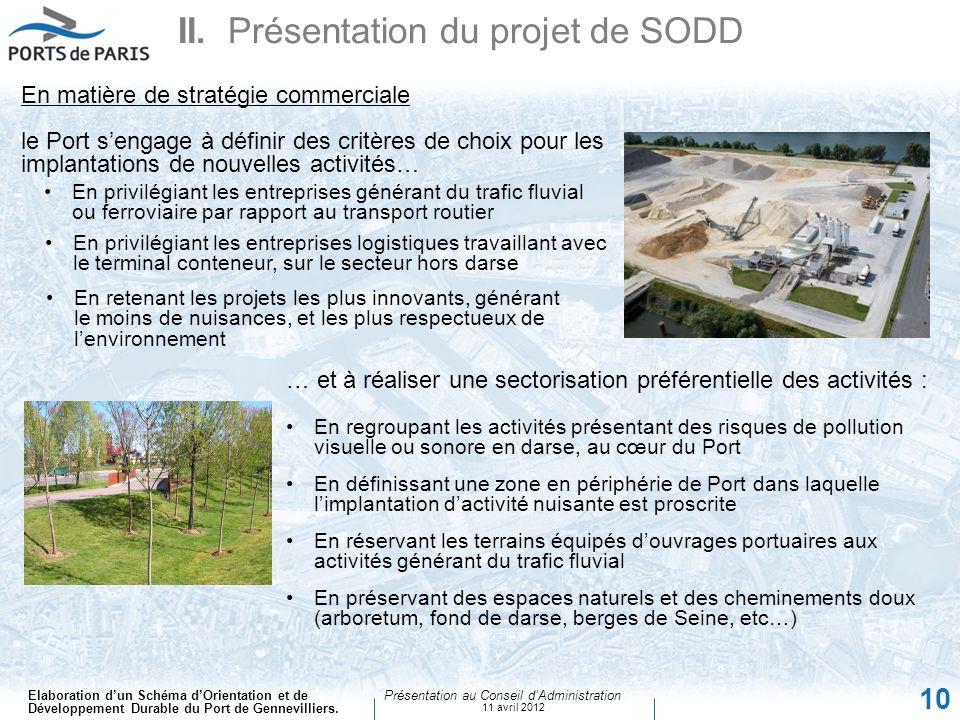 Elaboration dun Schéma dOrientation et de Développement Durable du Port de Gennevilliers. Présentation au Conseil dAdministration 11 avril 2012 10 SAD