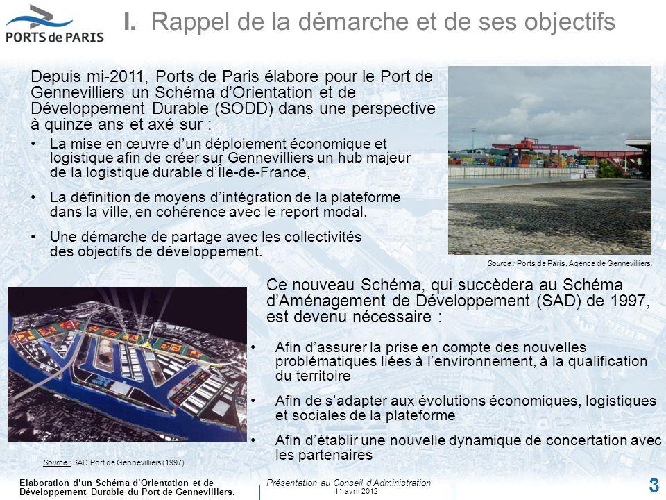 Elaboration dun Schéma dOrientation et de Développement Durable du Port de Gennevilliers. Présentation au Conseil dAdministration 11 avril 2012 3 Ce n