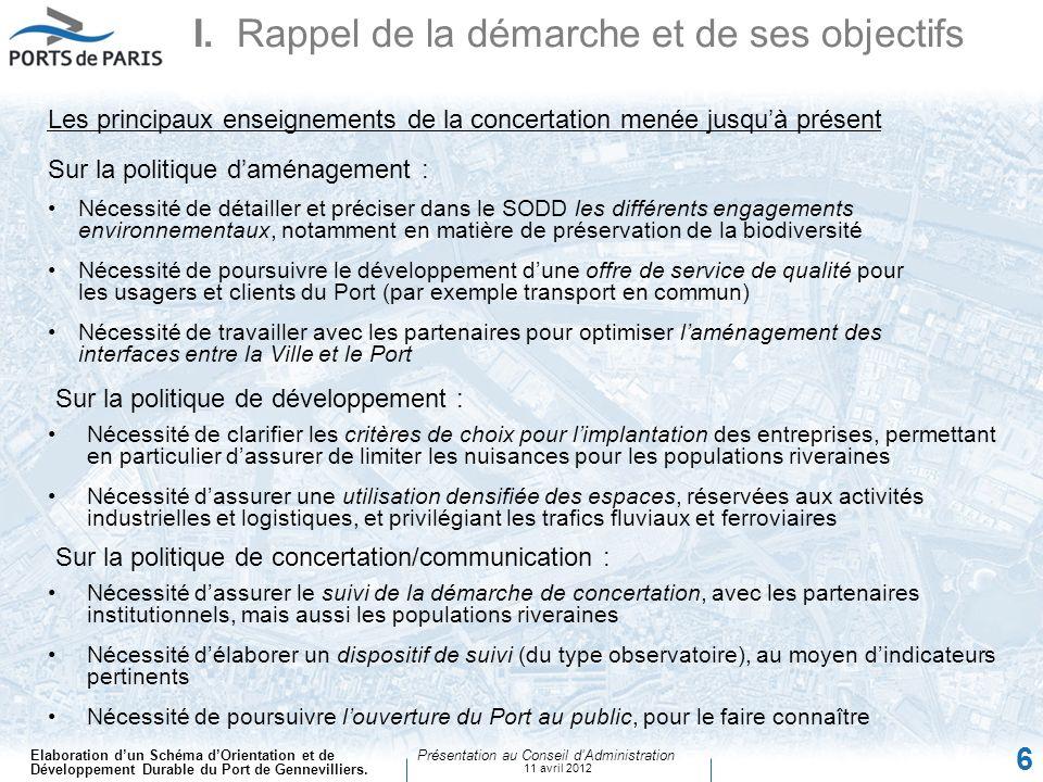 Elaboration dun Schéma dOrientation et de Développement Durable du Port de Gennevilliers. Présentation au Conseil dAdministration 11 avril 2012 6 Sur