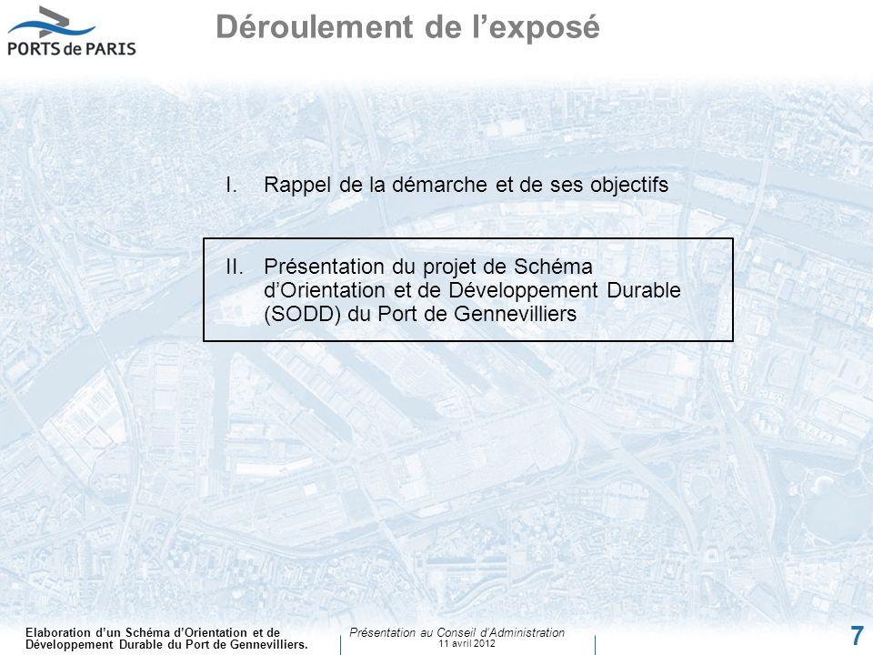 Elaboration dun Schéma dOrientation et de Développement Durable du Port de Gennevilliers. Présentation au Conseil dAdministration 11 avril 2012 7 I.Ra