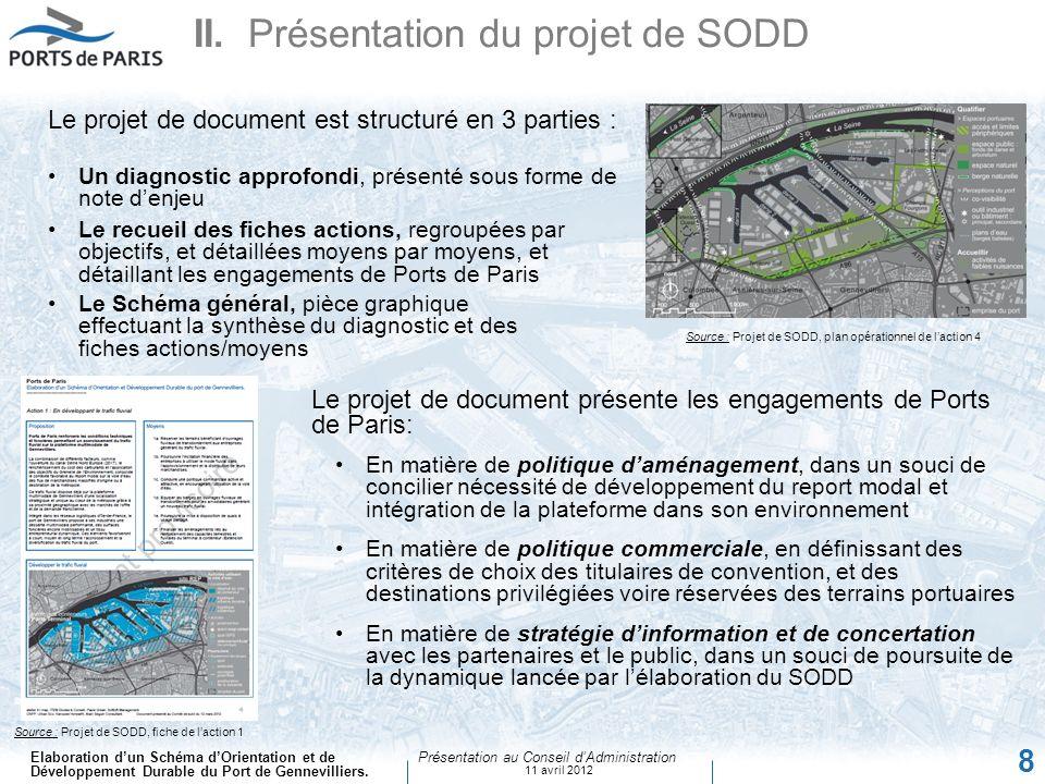 Elaboration dun Schéma dOrientation et de Développement Durable du Port de Gennevilliers. Présentation au Conseil dAdministration 11 avril 2012 8 II.