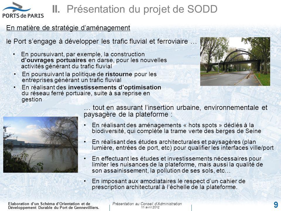 Elaboration dun Schéma dOrientation et de Développement Durable du Port de Gennevilliers. Présentation au Conseil dAdministration 11 avril 2012 9 II.