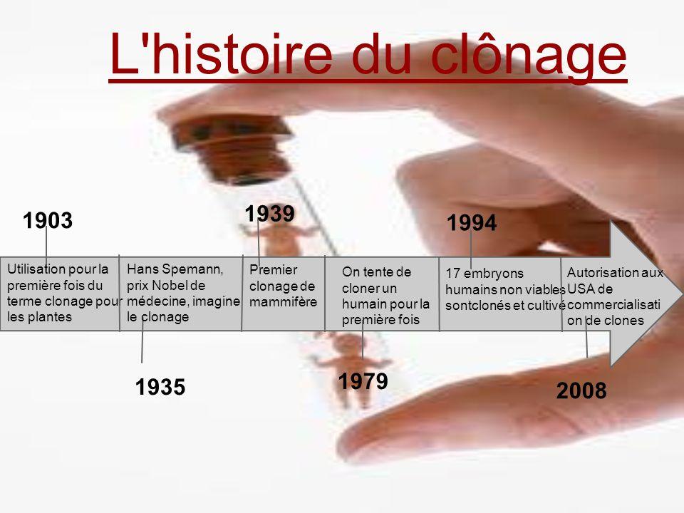 L'histoire du clônage 1903 Utilisation pour la première fois du terme clonage pour les plantes Hans Spemann, prix Nobel de médecine, imagine le clonag