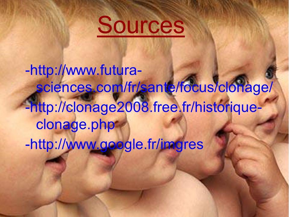 Sources -http://www.futura- sciences.com/fr/sante/focus/clonage/ -http://clonage2008.free.fr/historique- clonage.php -http://www.google.fr/imgres Sour