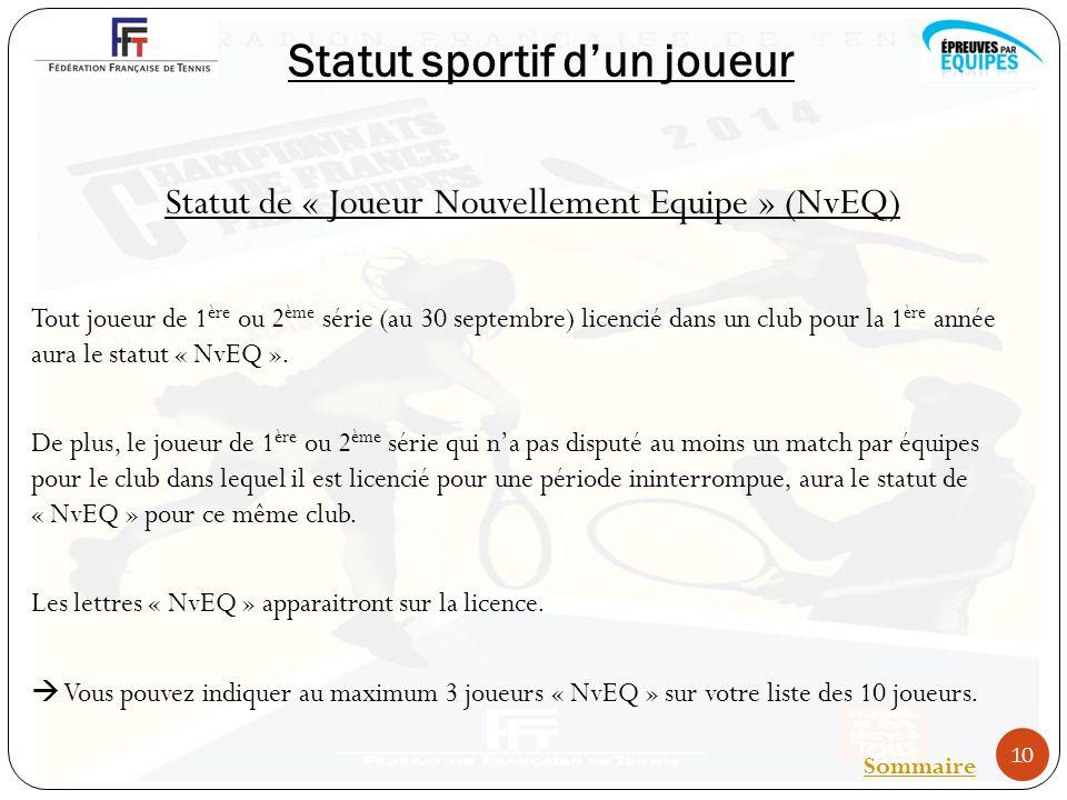 Statut sportif dun joueur Statut de « Joueur Nouvellement Equipe » (NvEQ) Tout joueur de 1 ère ou 2 ème série (au 30 septembre) licencié dans un club pour la 1 ère année aura le statut « NvEQ ».