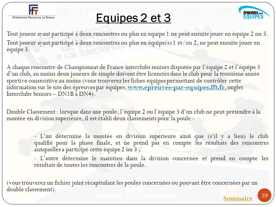 Equipes 2 et 3 Tout joueur ayant participé à deux rencontres ou plus en équipe 1 ne peut ensuite jouer en équipe 2 ou 3.