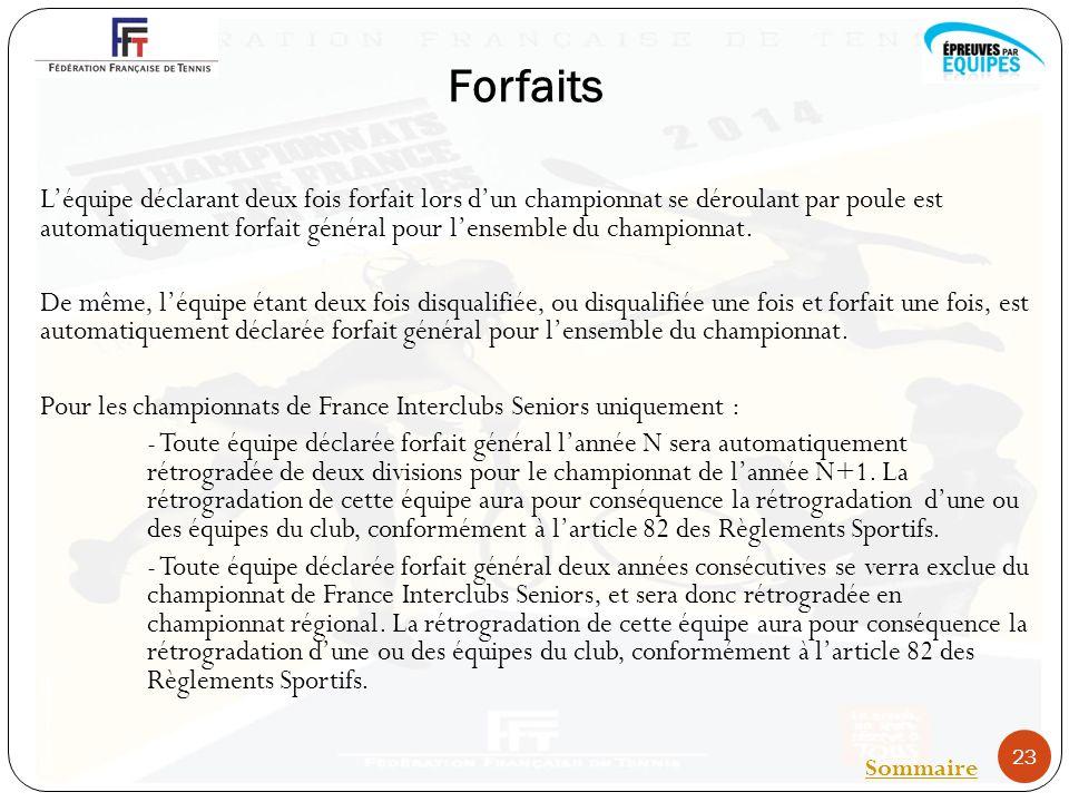 Forfaits Léquipe déclarant deux fois forfait lors dun championnat se déroulant par poule est automatiquement forfait général pour lensemble du championnat.