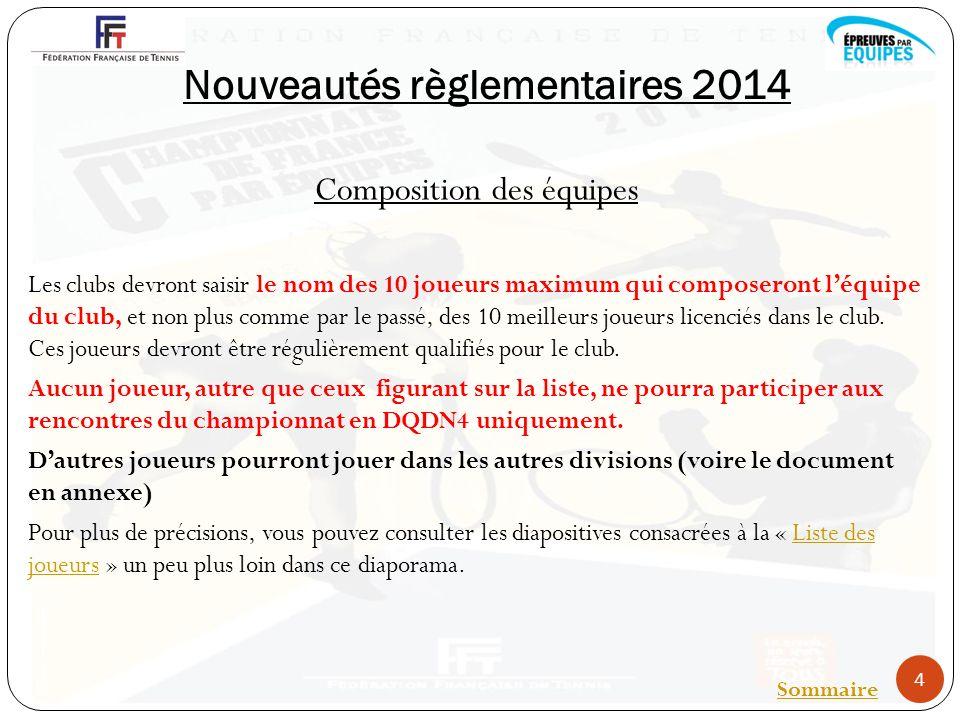 Nouveautés règlementaires 2014 Composition des équipes Les clubs devront saisir le nom des 10 joueurs maximum qui composeront léquipe du club, et non plus comme par le passé, des 10 meilleurs joueurs licenciés dans le club.