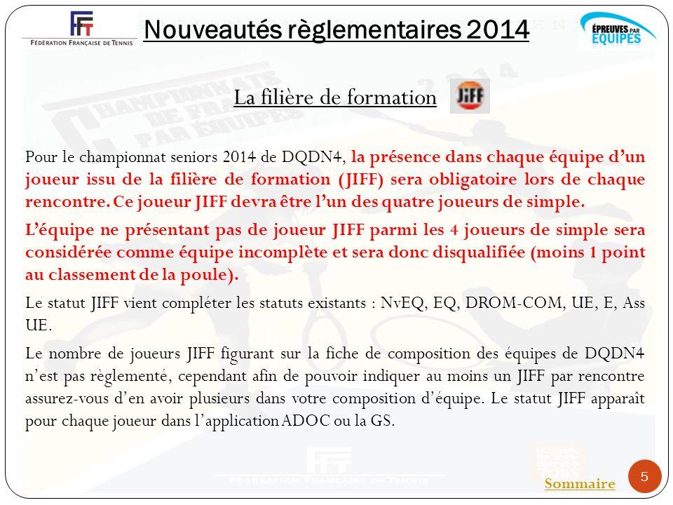 Nouveautés règlementaires 2014 La filière de formation Pour le championnat seniors 2014 de DQDN4, la présence dans chaque équipe dun joueur issu de la filière de formation (JIFF) sera obligatoire lors de chaque rencontre.