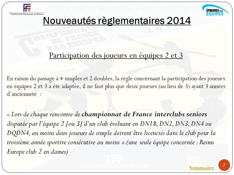 Nouveautés règlementaires 2014 Participation des joueurs en équipes 2 et 3 En raison du passage à 4 simples et 2 doubles, la règle concernant la participation des joueurs en équipes 2 et 3 a été adaptée, il ne faut plus que deux joueurs (au lieu de 3) ayant 3 années dancienneté : « Lors de chaque rencontre de championnat de France interclubs seniors disputée par léquipe 2 [ou 3] dun club évoluant en DN1B, DN2, DN3, DN4 ou DQDN4, au moins deux joueurs de simple doivent être licenciés dans le club pour la troisième année sportive consécutive au moins ».(une seule équipe concernée : Reims Europe club 2 en dames) 7 Sommaire