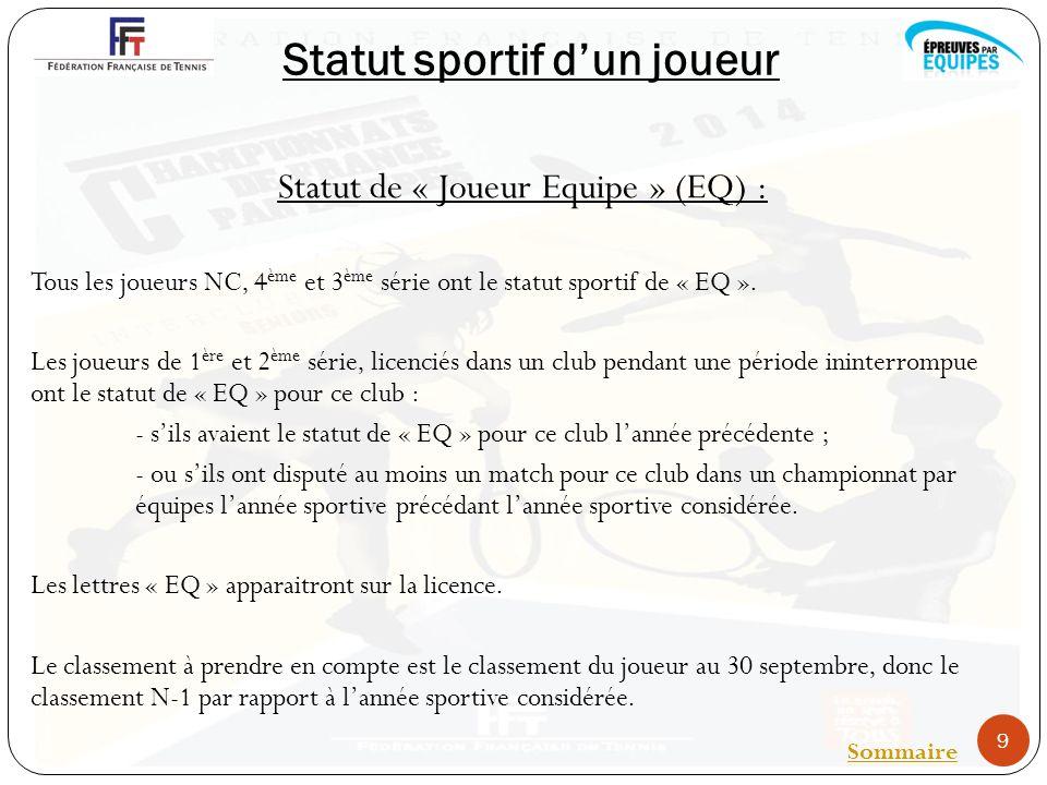 Statut sportif dun joueur Statut de « Joueur Equipe » (EQ) : Tous les joueurs NC, 4 ème et 3 ème série ont le statut sportif de « EQ ».