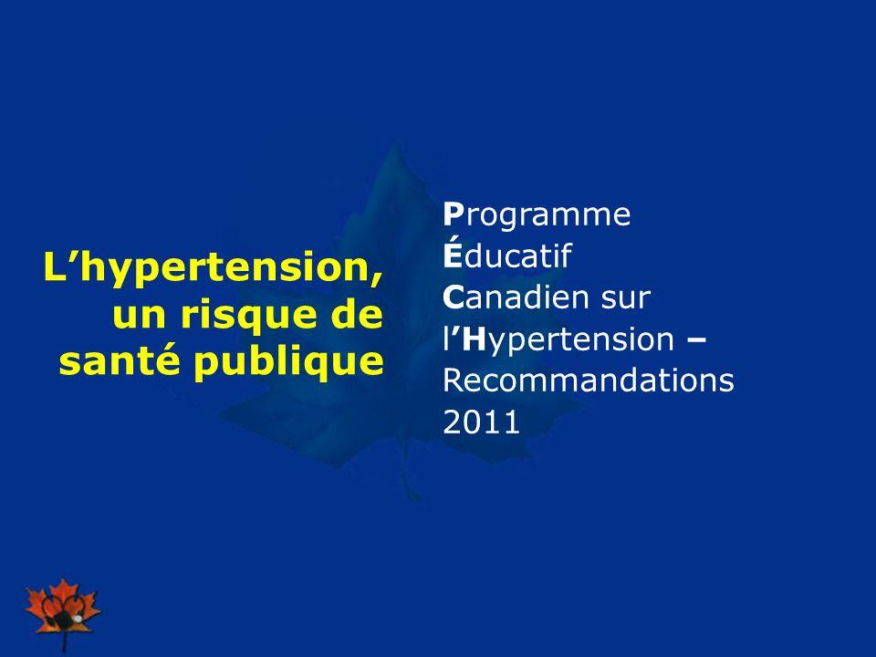 2009 Lhypertension, un risque de santé publique Programme Éducatif Canadien sur lHypertension – Recommandations 2011