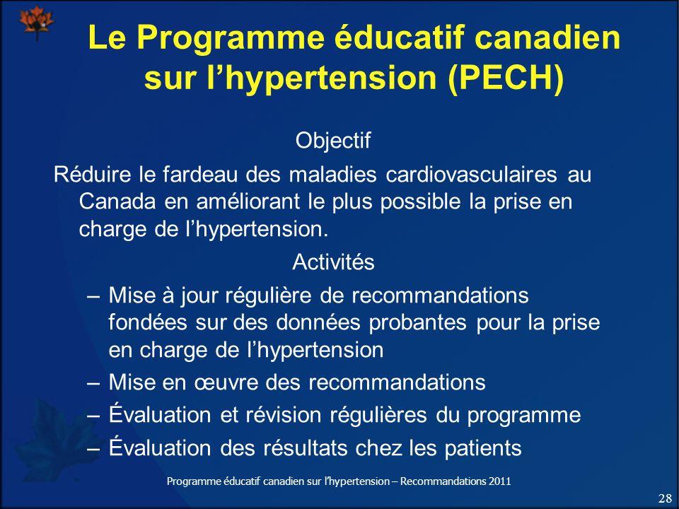 28 Programme éducatif canadien sur lhypertension – Recommandations 2011 Le Programme éducatif canadien sur lhypertension (PECH) Objectif Réduire le fa