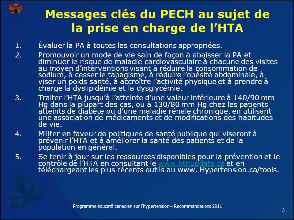 3 Programme éducatif canadien sur lhypertension – Recommandations 2011 1. Évaluer la PA à toutes les consultations appropriées. 2. Promouvoir un mode