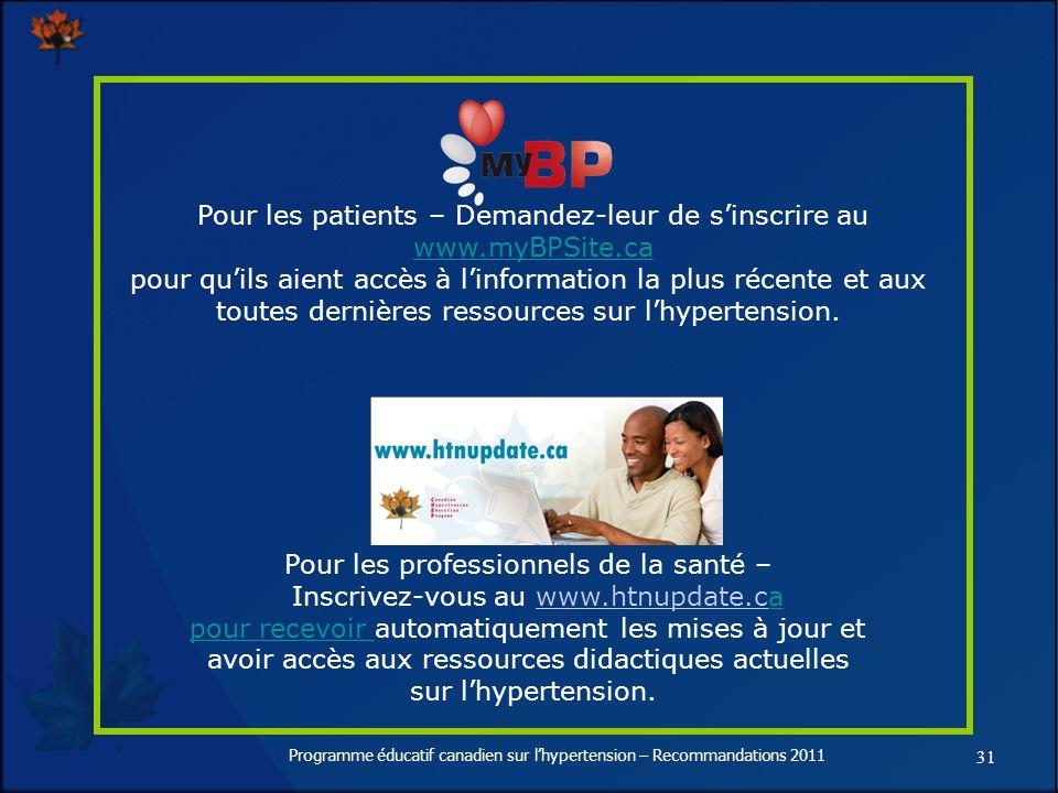 31 Programme éducatif canadien sur lhypertension – Recommandations 2011 Pour les patients – Demandez-leur de sinscrire au www.myBPSite.ca www.myBPSite